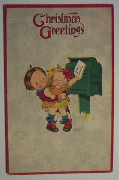 These two look like the Campbell's soup kids almost,  Christmas Card / Art
