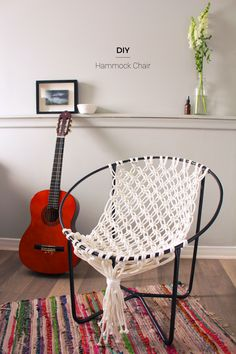 Create this DIY Macrame Hammock Chair to relax in all year long! | Fish & Bull