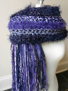 Crochet Scarf - The Teanna Scarf   Blues and Purples by Sewstacy, $40.00