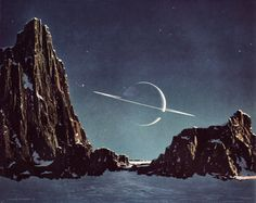 Saturn As Seen From Titan, by Chesley Bonestell