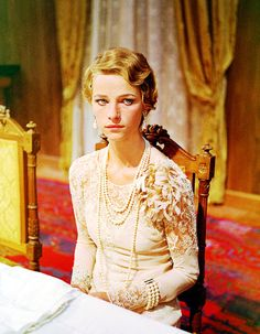 Charlotte Rampling's lace dress in the 1969 film, The Damned, directed by Luchino Visconti. The costumes were designed by Piero Tosi.