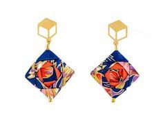 Mosaic Earrings    Origami Earrings; Origami Jewelry, Origami Jewellery; Origami; Paper Jewelry; Japanese Paper; Japan; Paper Earrings; Girlfriend Gift