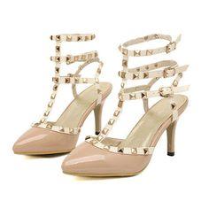 Apricot T-strap Rivet Strappy Pointed Toe Heels #Apricot #Heels #maykool