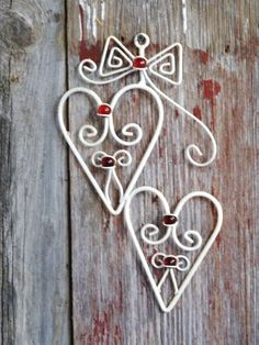 Classic HEARTS- Creamy White Metal Joined Hearts Suspended from a Bow with Red Glass Balls- Marbles- Romantic- Romance- Love- Heart Wall Art...