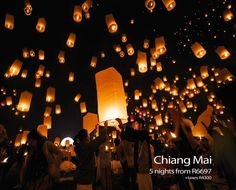 Loi Krathong Festival in Thailand. It is believed that the Krathongs carry away bad luck. The wishes that people make for the new year will start. It is the time to be joyful and happy as the sufferings are floated away. Sky Lanterns, Paper Lanterns, Tangled Lanterns, Honey Moon, Lantern Festival, Deco Table, Inspirational Videos, Abraham Hicks, Chiang Mai