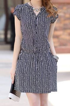 $8.65 Stylish Women's V-Neck Short Sleeve Striped Drawstring Dress