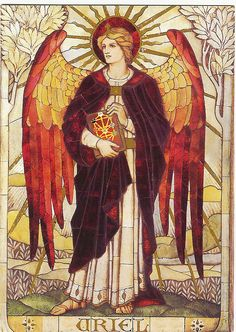 """Uriel is the Great Angel set over the Tarot.  ---his name means light or illuminates--Uriel illuminates our minds with information, ideas, epiphanies, and insights. . He's wonderful to call upon whenever you need a solution,  He'll whisper correct and appropriate answers into your ear, which you'll receive as words or thoughts that are suddenly """"downloaded"""" into your mind."""