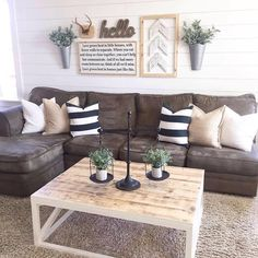 Start by collecting your favorite living room design ideas to recognize all the styles that you will bring into space. the choice of Farmhouse living room design is perfect for your home. Farmhouse living room will look comfortable and casual. Living Room Pillows, Pillow Room, Living Room Furniture, Living Room Wall Decor Ideas Above Couch, 3d Wall Decor, Couch Pillows, Throw Pillows, Modern Farmhouse Living Room Decor, Antique Farmhouse