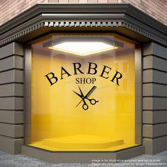 BARBER SHOP Comb/Scissors Barbers Hairdresser Window Sticker Display Decal
