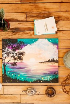 Easy Acrylic Canvas Painting Ideas art for adults 5 piece Colorful Canvas Art Paintings Collection Easy Canvas Painting, Acrylic Canvas, Easy Paintings, Painting & Drawing, Canvas Art, Diy Painting, Firefly Painting, Awesome Paintings, Lake Painting