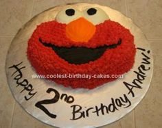 Homemade  Elmo Cake: This Elmo Cake was prepared using the standard Wilton Elmo cake pan.  I used the Wilton no taste red to make the color so deep.  I recommend buying 2 or