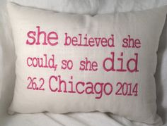 Chicago MARATHON by EmmaLemmaLou on Etsy, i WANT this so bad!!!! Life Motivation, Weight Loss Motivation, Chicago Marathon, Ell, My Passion, Exercise, Running, Pillows, Decoration
