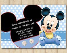 Mickey Mouse Baby Invitation birthday custom by EventsPrintables