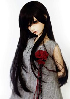 """Amazon.com: 1/4 7-8"""" Bjd Doll Hair Only Wig Mid Long Layered Roll Inside Tips Ends Jet Deep Black Styled Clay Dolls, Bjd Dolls, Doll Wigs, Doll Maker, Perm, Single Piece, Cool Style, Artsy, Things To Sell"""