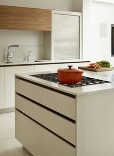Inset gas Barazza hob in Roundhouse bespoke Urbo matt lacquer kitchen
