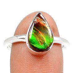 Genuine Canadian Ammolite 925 Sterling Silver Ring Jewelry s.7 SR208924 | eBay