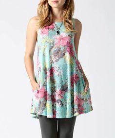 Look at this #zulilyfind! Mint Floral Sleeveless Tunic #zulilyfinds