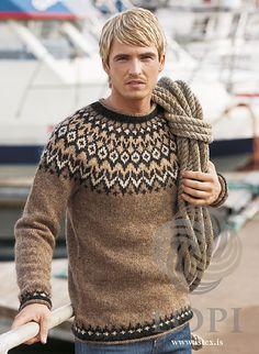 - Icelandic Riddari (Knight) Mens Wool Sweater Brown - Tailor Made - Nordic Store Icelandic Wool Sweaters - 1 pullover herren Riddari (Knight) Mens Wool Sweater Brown Knitting Kits, Fair Isle Knitting, Knitting Designs, Hand Knitting, Icelandic Sweaters, Wool Sweaters, Brown Sweater, Men Sweater, Sweater Design