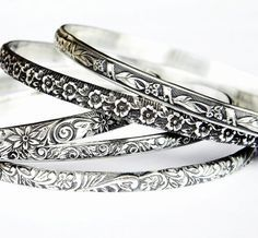 Solid Sterling Bangle Sterling Silver Bangles Silver Floral | Etsy