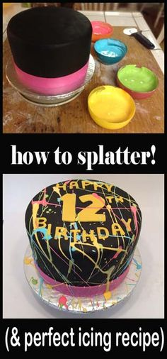 How to make a Paint Splatter Cake and the perfect royal icing recipe.