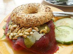 Carpaccio Parmezan Pinenuts Bagel @ Bagels&Beans, Amsterdam