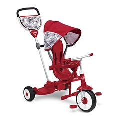 """Product review for Radio Flyer Deluxe Ride & Stand Stroll 'N Trike, Red, 41"""" x 24"""" x 39"""" - The deluxe ride & stand stroll 'N trike is the only trike designed for 2 riders. With its great stand on platform, this 4 in 1 trike is the ultimate grow-with-me trike offering fun for 2 kids at once! this trike comes with a secure 3 point harness with high seat back, a wrap-around tray with ..."""