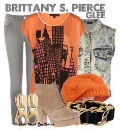 Glee by wearwhatyouwatch on Polyvore featuring polyvore fashion style St Martins Boohoo Oasis KG Kurt Geiger Dsquared2 Marc by Marc Jacobs clothing skinny jeans graphic tees denim vests knit hats chain link bracelets heather morris glee brittany pierce orange hues