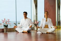 Talk about peace of mind #yoga on-board #MSCMusica with an #ocean backdrop #MSCAureaSpa #wellness #health