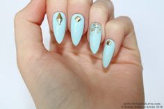 Pastel blue stud & glitter stiletto nails by prettylittlepolish
