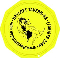 This is a sample of a Custom Imprinted Motorcycle Coaster®. This is one we printed for Hayloft Tavern of Helen, Georgia.  Check them out at HayloftHelen.com. The Motorcycle Coaster® is sometimes referred to as a kickstand pad, kickstand plate, side stand pad, side stand plate, or puck.   It is specifically designed as a motorcycle kickstand support aide for soft surfaces and is designed for your custom printed message.