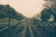 Overlooking the tracks at Harajuku Station.