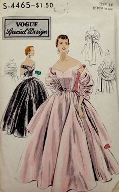 1950's Vintage Vogue Special Design GOWN Off Shoulder Stole Sewing Pattern S4465