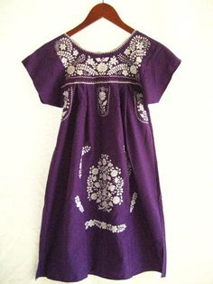 Mexican Embroidered Dress Tunic purple white by AidaCoronado, $98.00