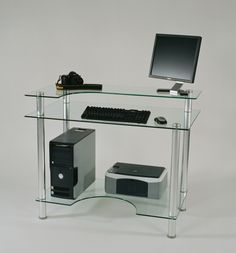 "43"" W Glass Computer Desk"