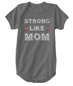 Strong Like Mom Kids Tee  Charcoal T-Shirt Front