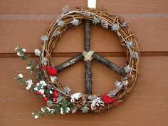 Peace Sign Christmas/Winter Wreath/Mini by Peace Love Happiness, Peace And Love, Dove And Olive, Hippie Love, Xmas Wreaths, Natural Christmas, Peace On Earth, Etsy Business, Boho