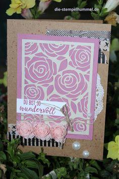 Washi auf Kraftpapier, Perlen und Rosen