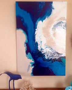 """Paradise found"" an original Laura Adams Wilson artwork. Fluid art. Fluid painting. Acrylic and mixed media artwork. Ocean art. Coastal chic. Laura Adams Wilson artist"