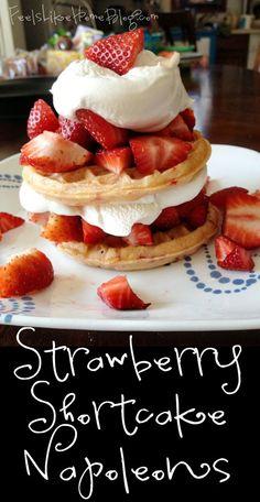 Strawberry Shortcake Napoleons - These are a perfect dessert for springtime! #EggoWaffleOff