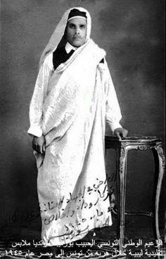 الرئيس التونسي الحبيب بورقيبة بالزي الليبي.