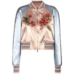 Valentino mytheresa.com Online Exclusive Embellished Satin Bomber... (23 525 PLN) ❤ liked on Polyvore featuring outerwear, jackets, valentino, colorful jackets, satin bomber jacket, flight jacket, bomber jacket and blouson jacket