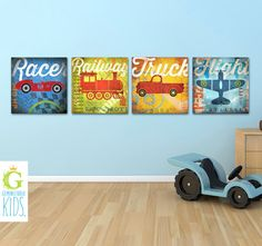 Set of 4 Transportation train car truck airplane graphic childrens wall art  canvas panels by stephen fowler