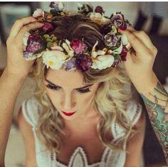 Coroa de flores noiva