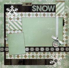 12x12 Premade Scrapbook Page - Let It Snow