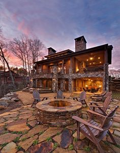The location of this fire pit provides great views of the golf course as well as sunsets. Unless the wind is blowing towards the home, this fire pit is located far enough away to avoid the smoke becoming an issue in the home.