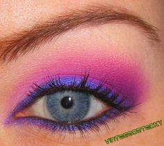 chesire cat...indigo/light blueish purple liner will make this look easier to achieve. Use a shadow primer before shadow to ensure it stays!