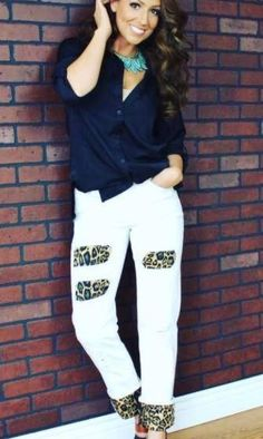 "Ivory Leopard  relaxed fit BOYFRIEND jeans with mid rise and cuffed hem. Made with fabric that HUGS you in the PERFECT places for a GREAT fit and COMFORT. True to Size !! Size 4= 26"" 6=28 8=29 10=32 12=34 14=36 16=38 18=39 20=40 22=41 24= 42 Classy Cowgirl Co- Gypsy Cowgirl ,Fun & Funky Western clothing, jewelry, & Accessories by R. Cinco Ranch, Ali Dee, Pink Panache, ATX Mafia, Urban Mangoz, Montana West, L&B..."