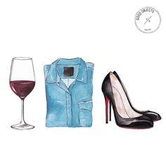 Good objects - Friday night with the girls #goodobjects #illustration #wine #heels #shirt