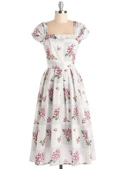 Twist on Timeless Dress - Grey, Pink, Floral, Print, Daytime Party, A-line, Cap Sleeves, Spring, Woven, Long, Cotton, Vintage Inspired, 40s, 50s