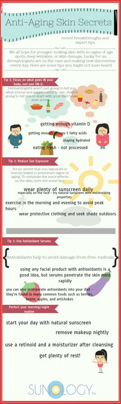 anti-aging skin care info graphic outlining a few tips for people who are looking to improve the health of their skin.